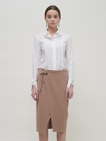 60% Lined wrap skirt / Beige