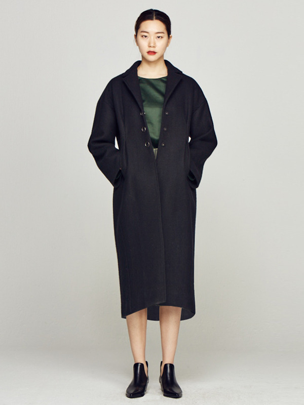 30% Ring Button Coat / Black