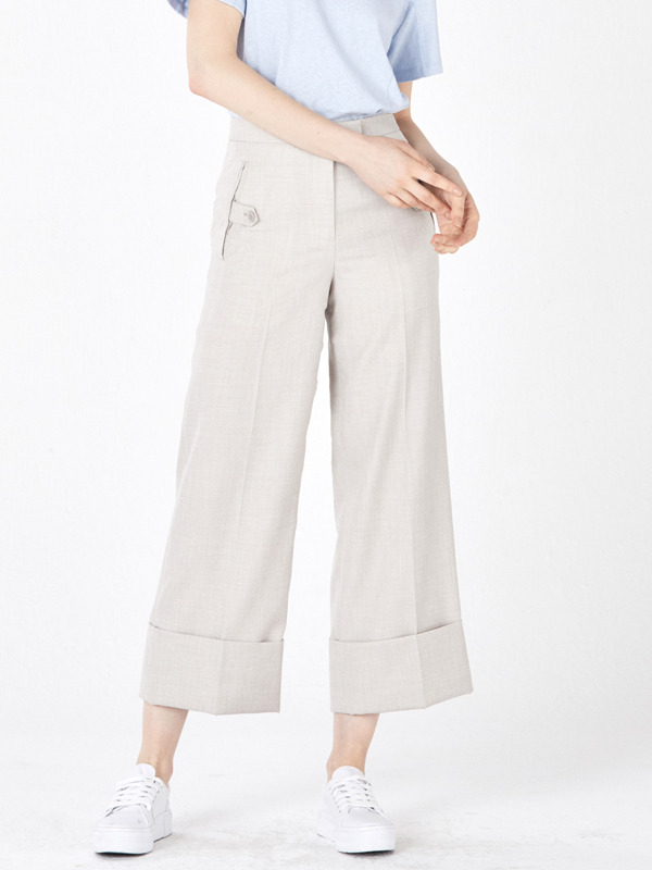 Roll up Button Pants / Light Beige