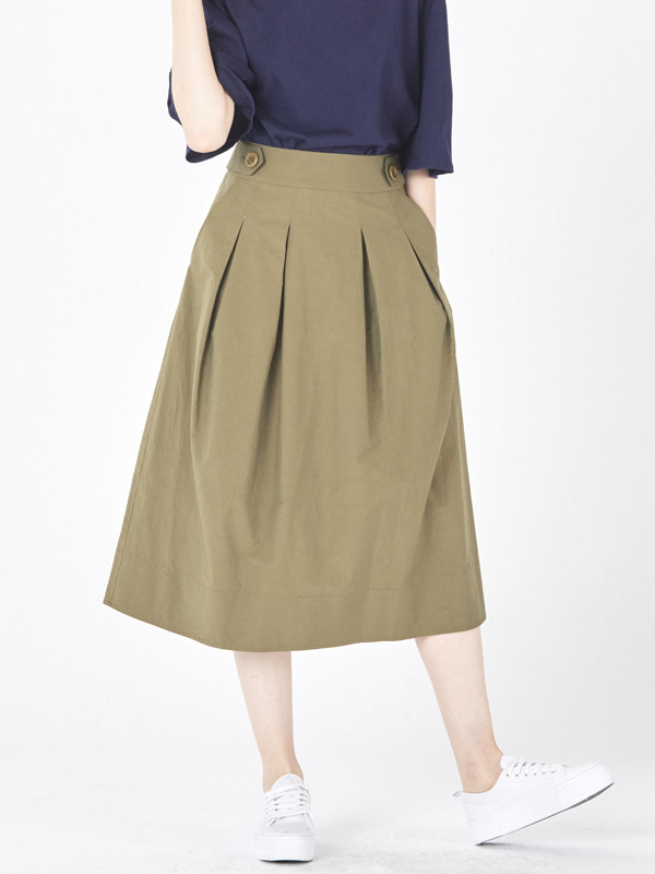 Tuck Volume Skirt  / Khaki
