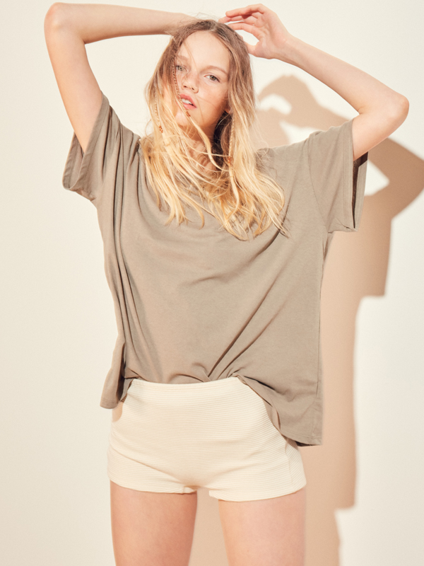 Tropical Boxy T / Light Khaki