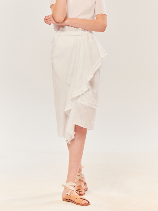 Punching Drape Skirt / White