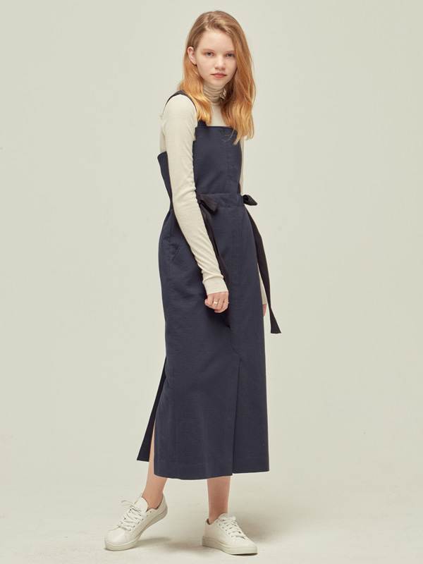 Side Knot Dress / Dark Navy