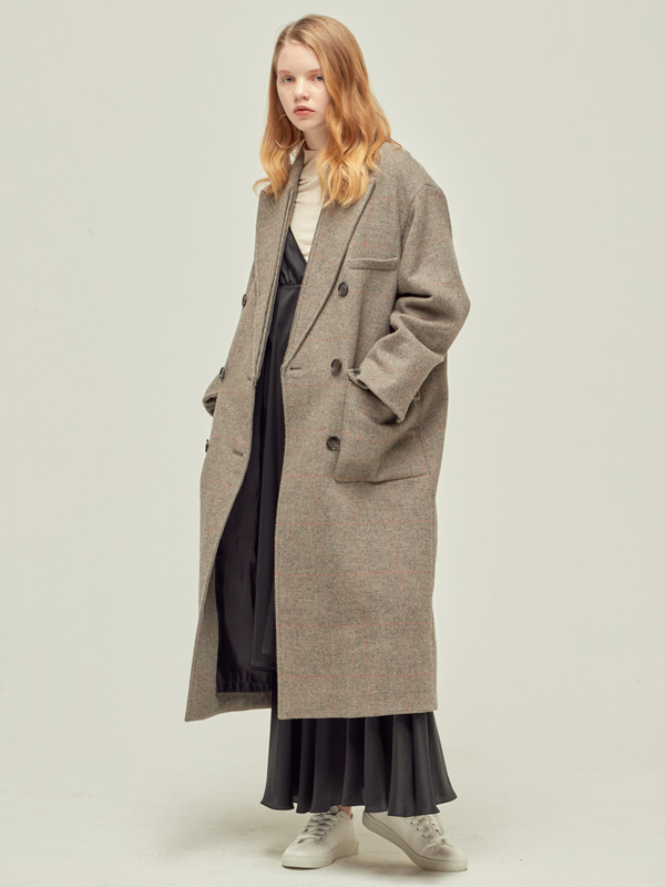 Check Double Coat / Beige check