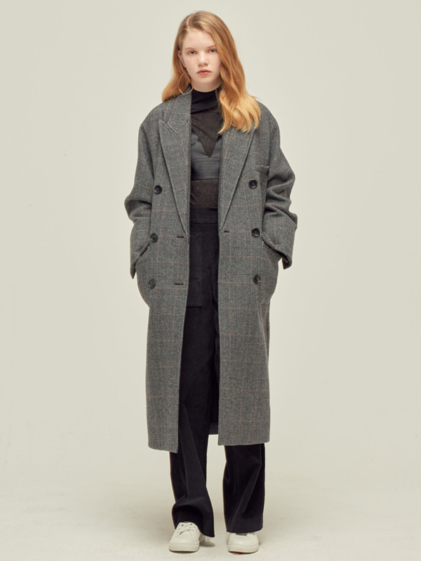 Check Double Coat / Grey check