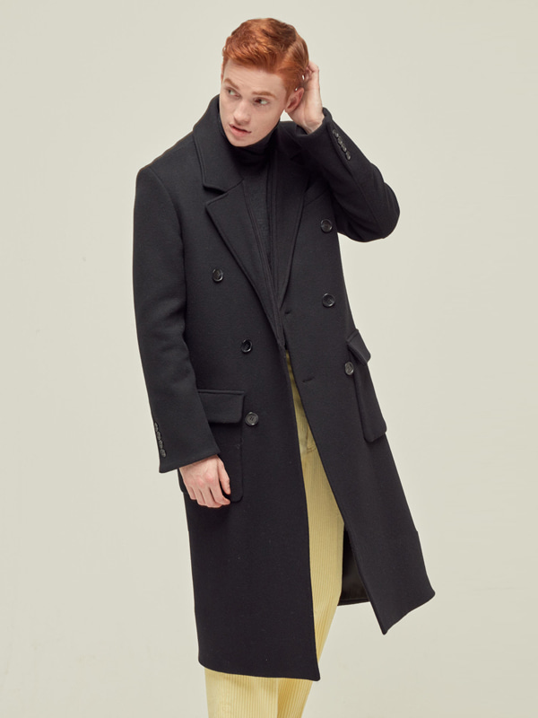 M Double Long Coat / Black