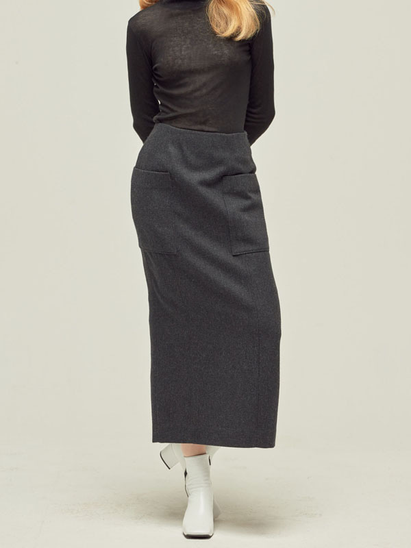 Out pocket Wool Skirt / D Grey