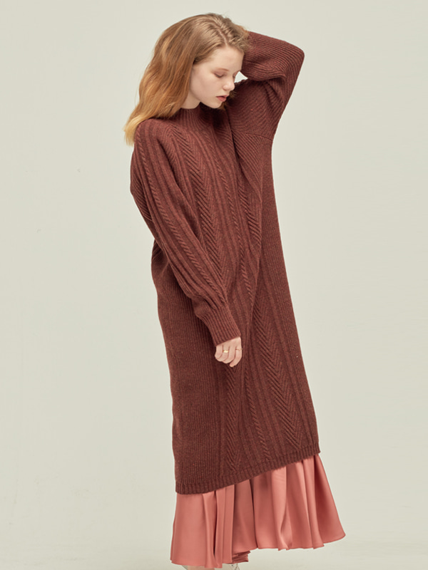 Cable Knit Dress_M Red
