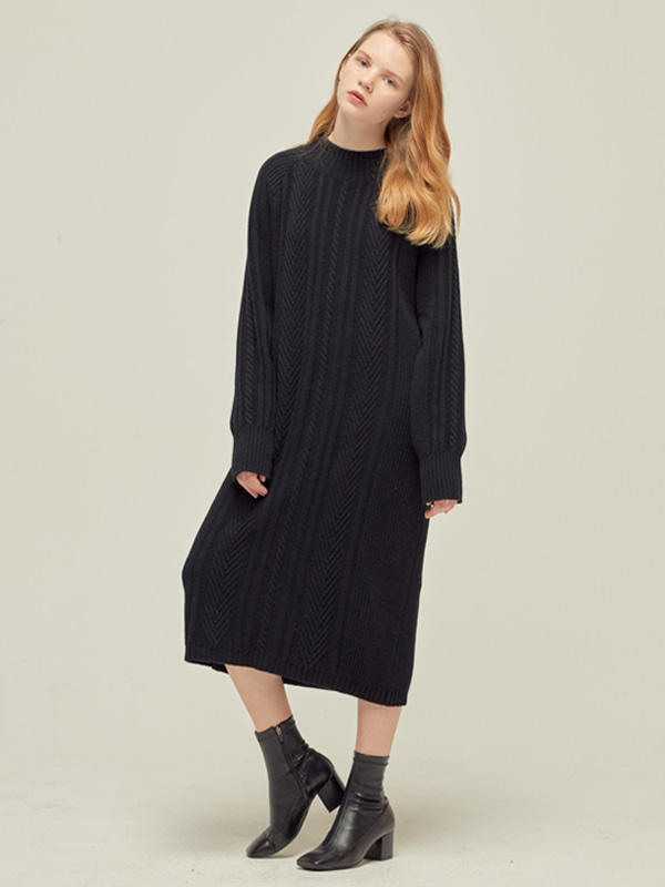 Cable Knit Dress_Black