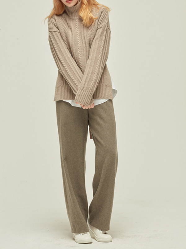 Wool Stitch pants_M Brown