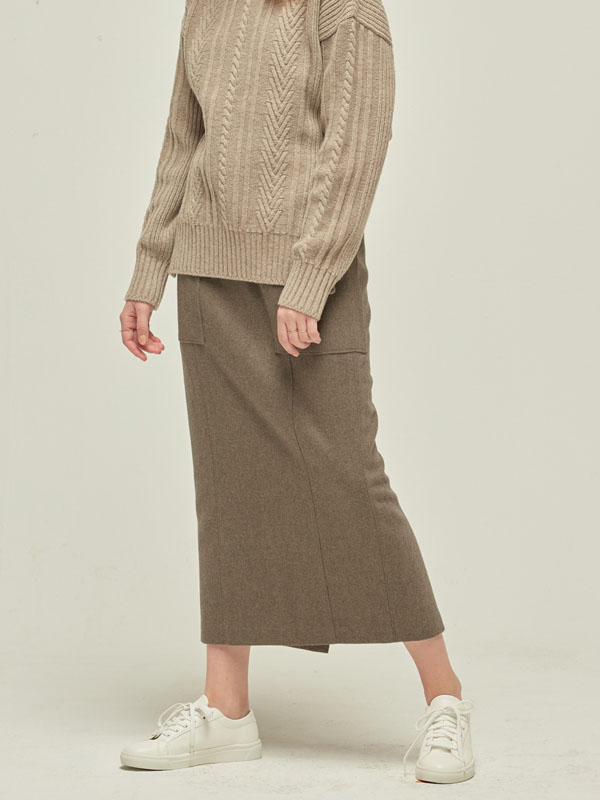 Out pocket Wool Skirt / M Brown