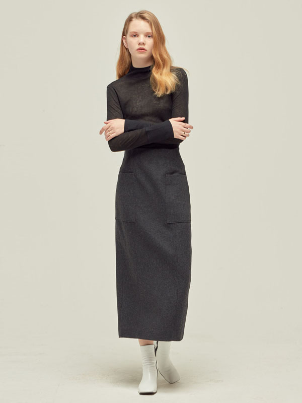 Half turtle neck Silky T + Out pocket Wool Skirt