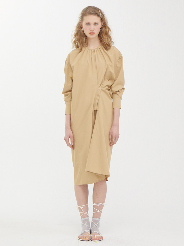 Two way Button Dress / Beige