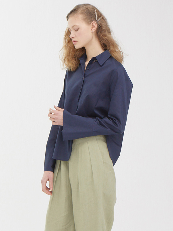 Modern Slit Shirt / Navy