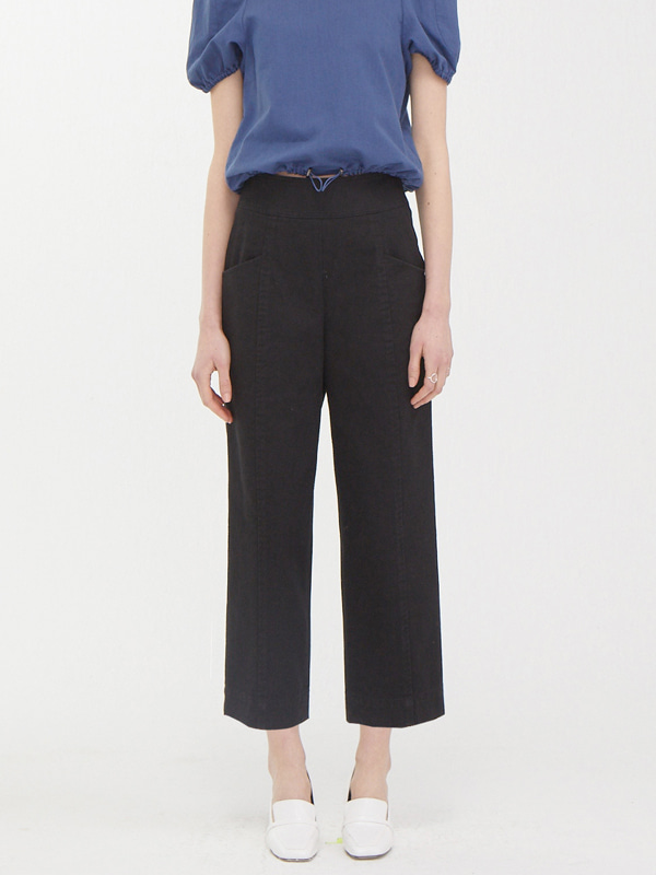 Stitch Crop Pants / Black