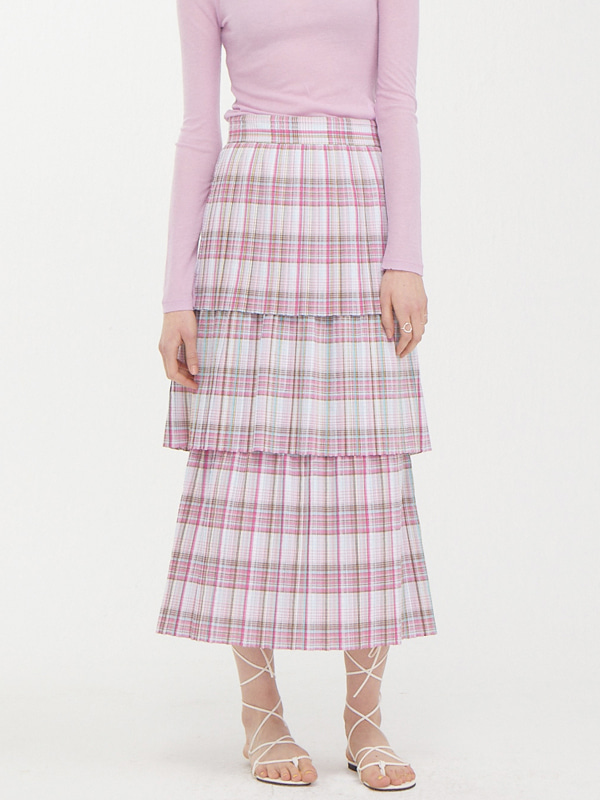 Pleats Tiered Skirt / Pink