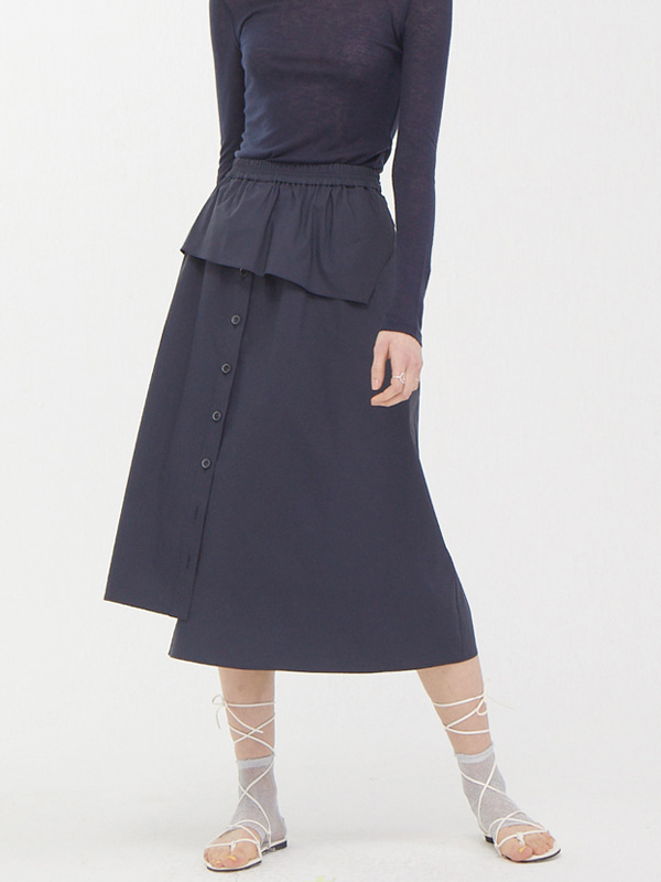 Cover Button Skirt / Dark Navy