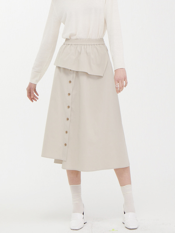 Cover Button Skirt / Light Beige