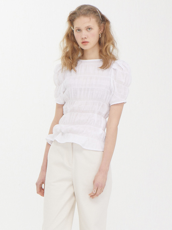 Puffy Wrinkle Top / White