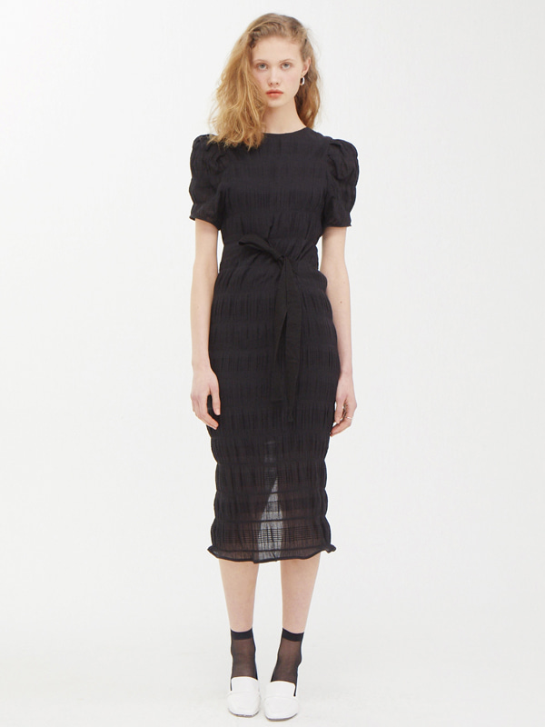 Puffy Wrinkle Dress / Black