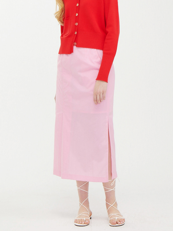One Side Tuck Skirt / Pink