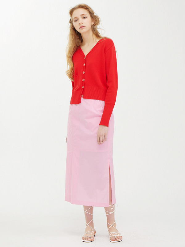 Unbalance Cardigan  +  One Side Tuck Skirt