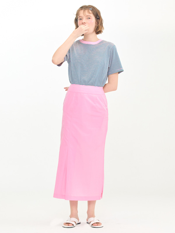 Stripe T-shirts  + One Side Tuck Skirt