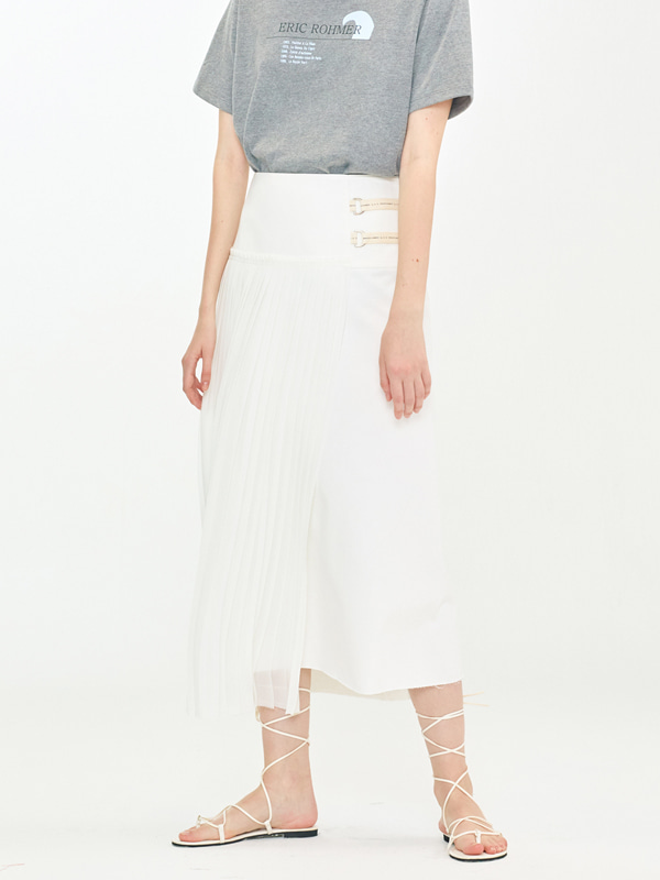 Sheer Pleats Mix Skirt / Ivori