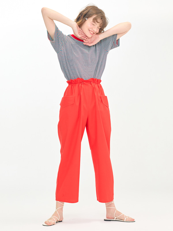 Stripe T-shirts  + Volume Banding Pants