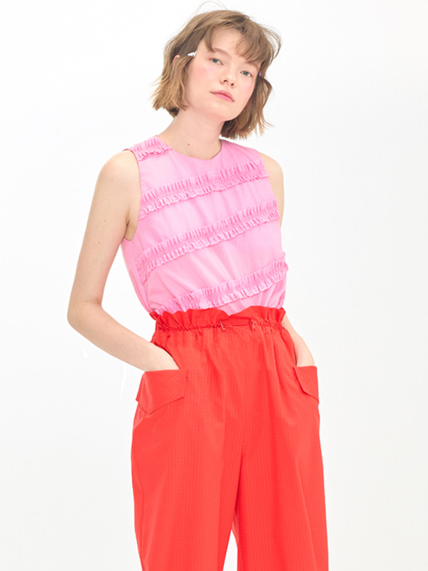 Frill Sleeveless Top / Pink