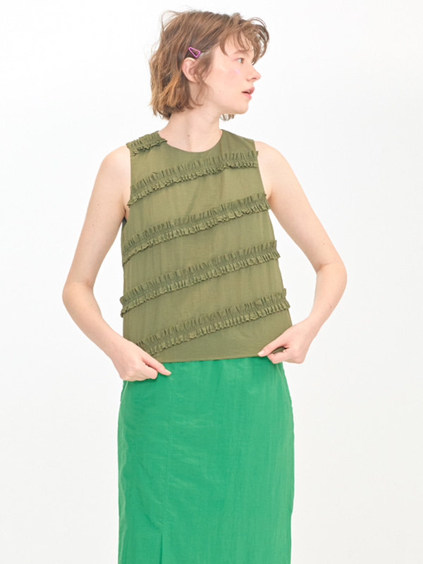 Frill Sleeveless Top / Khaki