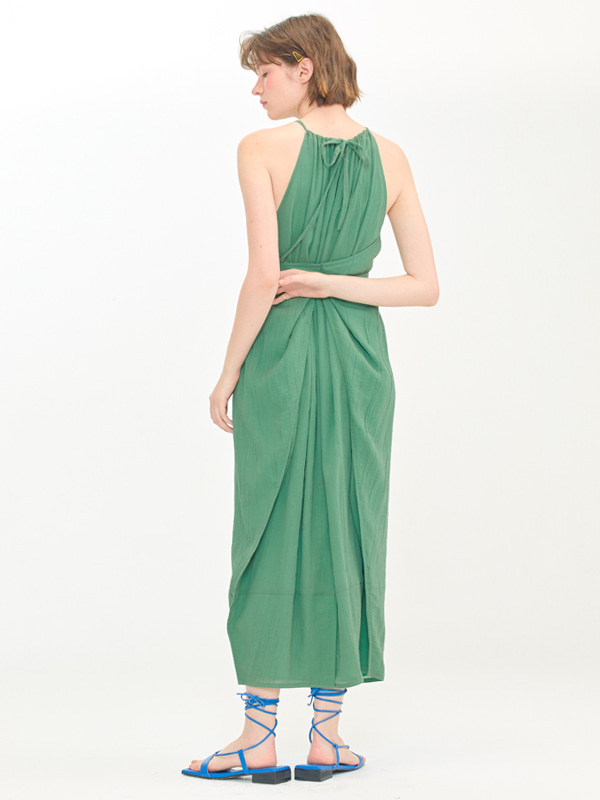 Wide Halter Dress / Green