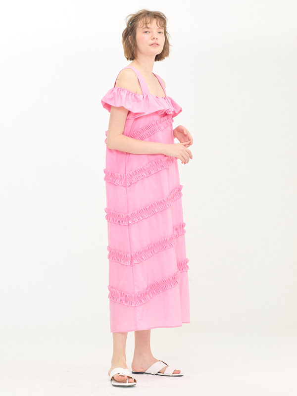 [EXCLUSIVE] Frill Off-shoulder Dress / Pink