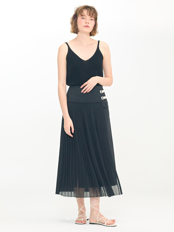 Ribbed Natural Slip +  Sheer Pleats Mix Skirt