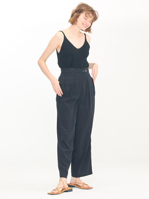 Ribbed Natural Slip + Classic Tuck Pants