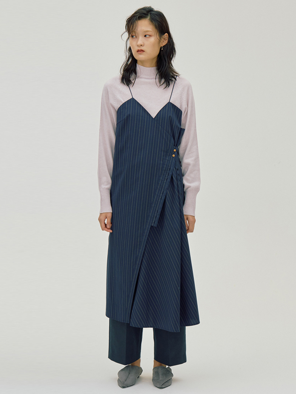 Button Stripe Dress /Navy