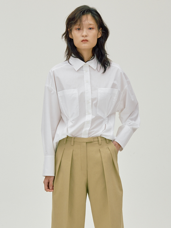 Grabbed Pocket Shirt / White