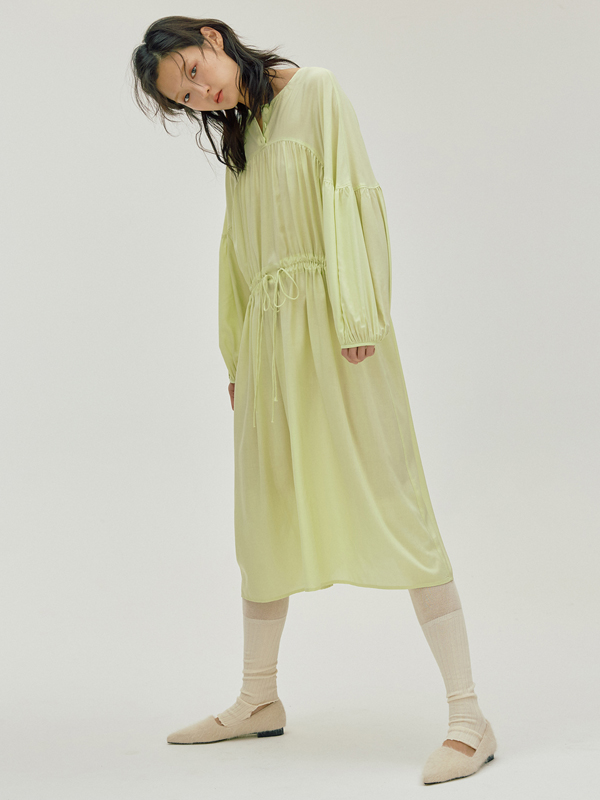 Cape Shirring Dress / Lemon