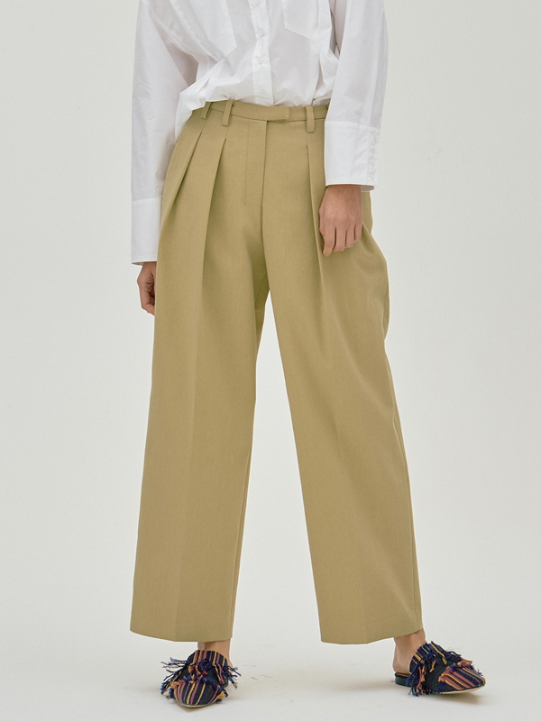 Zigzag Wide Pants / Mustard