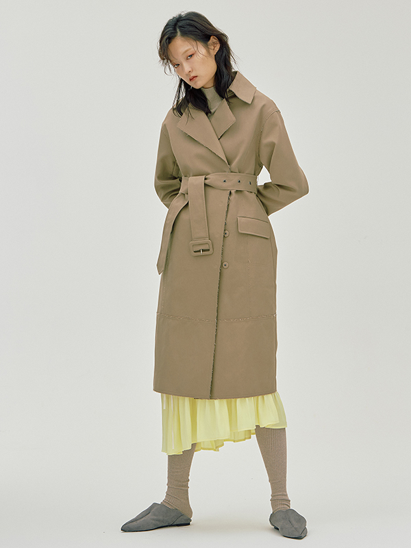 Bonded Rawcut Trench / Beige