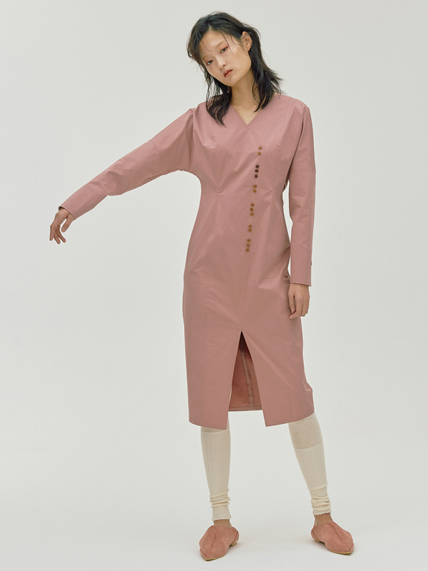 Two-three Button Dress / Pink
