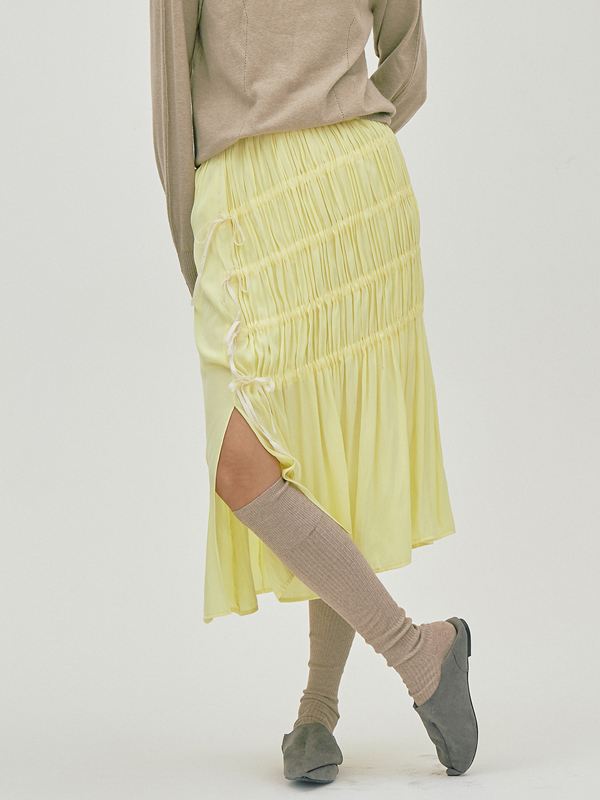 Unbalance String Skirt / Yellow