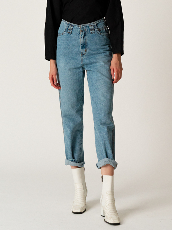 Highwaist Denim Pants / L Blue