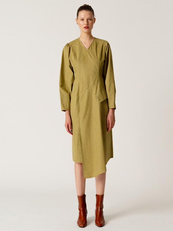 Cocoon Sleeve Dress / Khaki