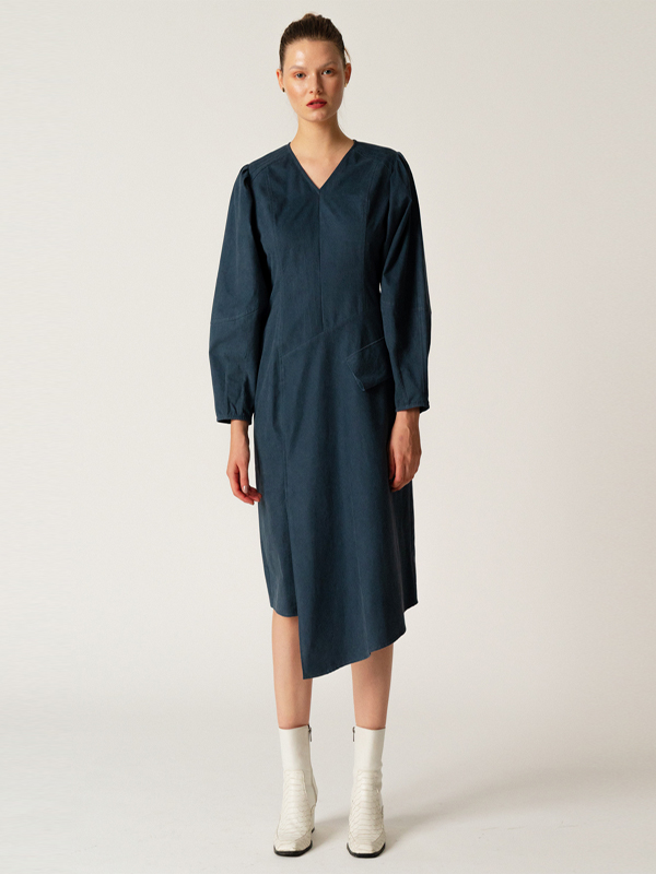 Cocoon Sleeve Dress / Navy