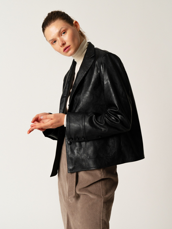 Leather Shirt Jacket / Black