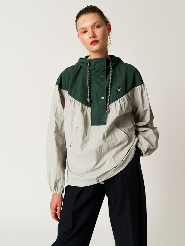 Patch Anorak Jumper / Khaki
