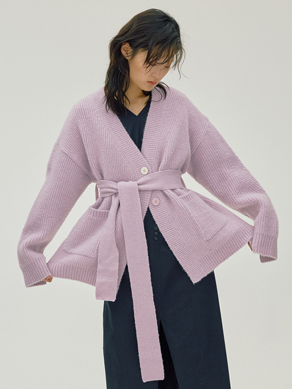 Mohair Belted Cardigan / Lavender