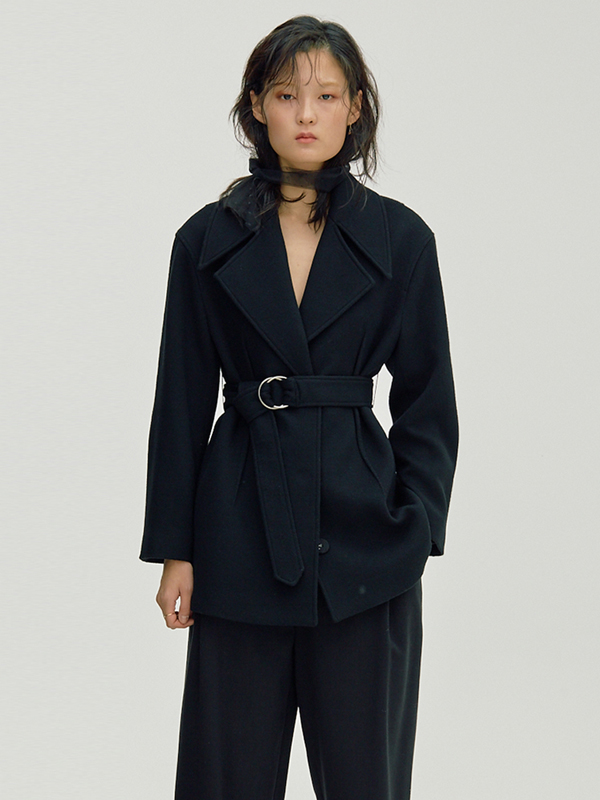 Wide Collar Half Coat / Black