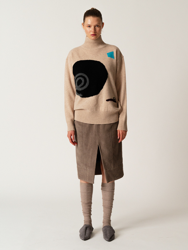Intarsia Turtleneck Top + Corduroy Belt Skirt